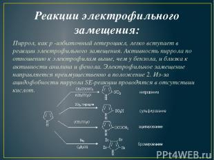 Реакции электрофильного замещения: Пиррол, какp-избыточный гетероцикл, легко в