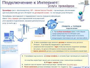 Провайдер (англ. обеспечиватель), ISP – Internet Service Provider – организация,