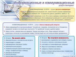 КОММУНИКАЦИОННЫЕ УСЛУГИ – услуги обмена информацией, общения: обмен информацией
