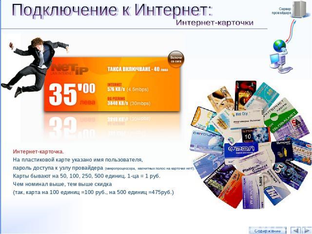 Сервер провайдера РИС.: Интернет-карта провайдера ОАО