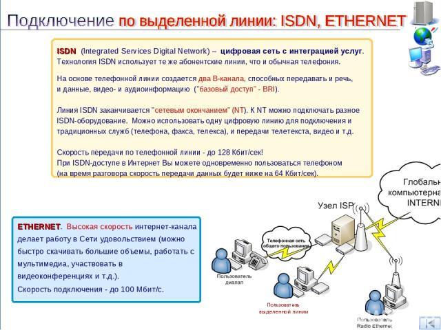 ISDN (Integrated Services Digital Network) – цифровая сеть с интеграцией услуг. Технология ISDN использует те же абонентские линии, что и обычная телефония. На основе телефонной линии создается два В-канала, способных передавать и речь, и данные, ви…