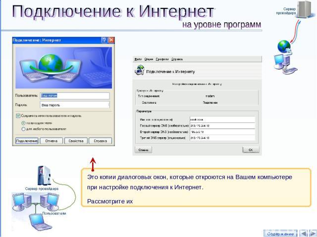 Сервер провайдера Содержание