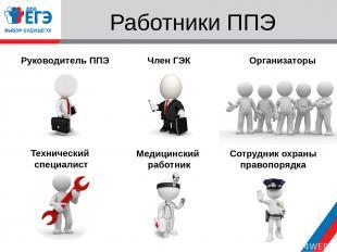 Работники ППЭ Руководитель ППЭ Член ГЭК Технический специалист Медицинский работ
