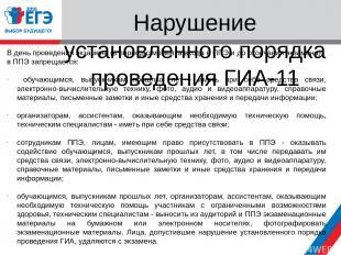 Нарушение установленного порядка проведения ГИА-11 В день проведения экзамена (в
