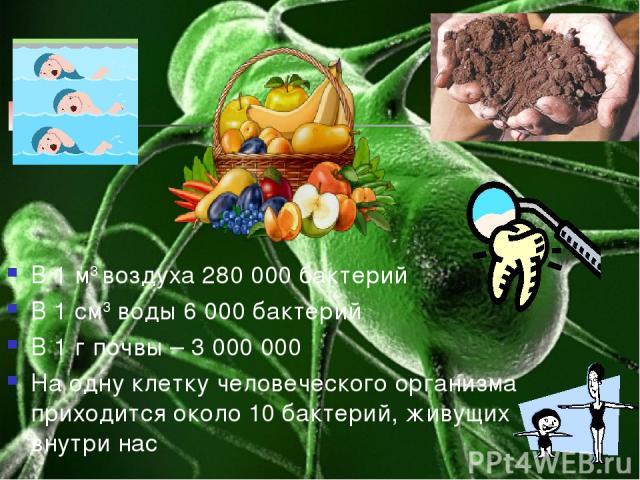 В 1 м3 воздуха 280 000 бактерий В 1 см3 воды 6 000 бактерий В 1 г почвы – 3 000 000 На одну клетку человеческого организма приходится около 10 бактерий, живущих внутри нас