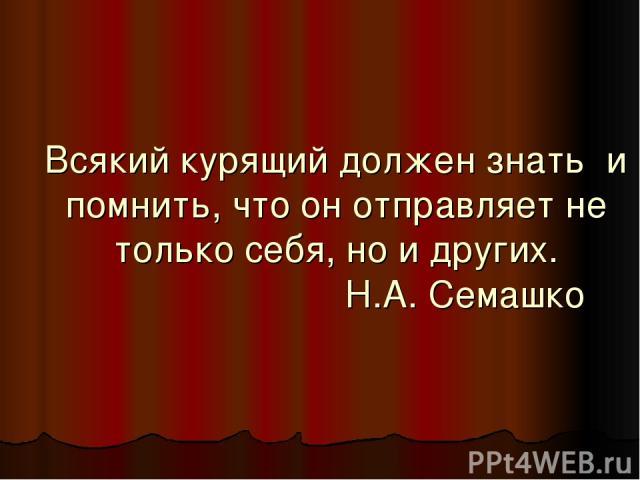 Всякий курящий должен знать и помнить, что он отправляет не только себя, но и других. Н.А. Семашко