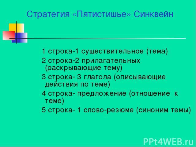 Стратегия «Пятистишье» Синквейн 1 строка-1 существительное (тема) 2 строка-2 прилагательных (раскрывающие тему) 3 строка- 3 глагола (описывающие действия по теме) 4 строка- предложение (отношение к теме) 5 строка- 1 слово-резюме (синоним темы)