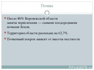 Почвы Около 80% Воронежской области занятычерноземами— самыми плодородными поч