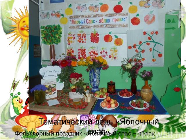Тематический день «Яблочный спас» Фольклорный праздник «Яблочный спас – яблок припас»