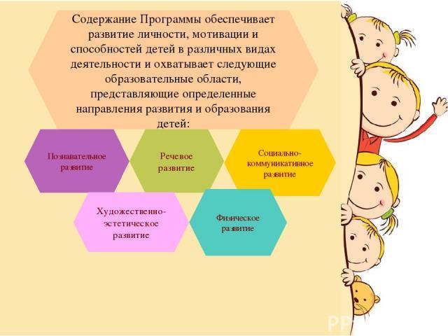 Содержание Программы обеспечивает развитие личности, мотивации и способностей детей в различных видах деятельности и охватывает следующие образовательные области, представляющие определенные направления развития и образования детей: Социально-коммун…