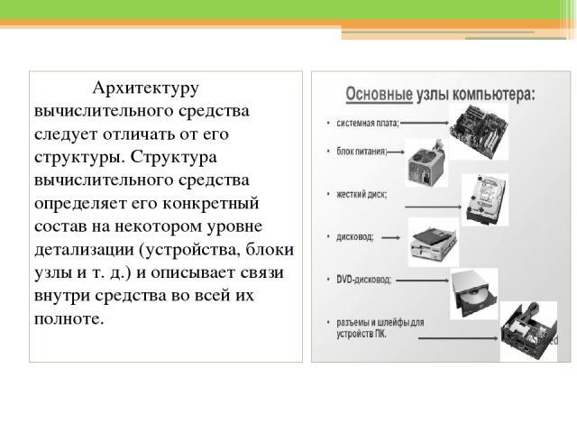 Архитектуру вычислительного средства следует отличать от его структуры. Структура вычислительного средства определяет его конкретный состав на некотором уровне детализации (устройства, блоки узлы и т. д.) и описывает связи внутри средства во всей их…