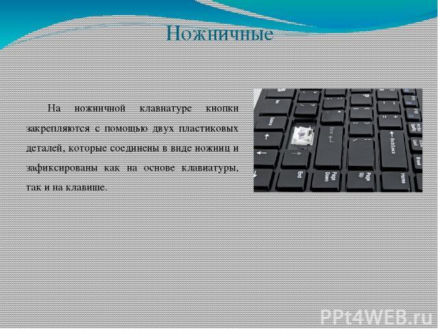 Ножничные На ножничной клавиатуре кнопки закрепляются с помощью двух пластиковых деталей, которые соединены в виде ножниц и зафиксированы как на основе клавиатуры, так и на клавише.