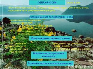 ОЗЕРА РОССИИ Источники пресной воды, пищевых продуктов, сырья, регуляторы стока,