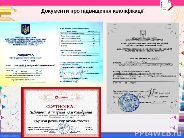 Документи про підвищення кваліфікації