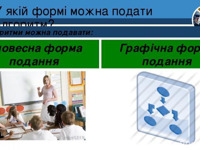 У якій формі можна подати алгоритм? Алгоритми можна подавати: Розділ 4 § 17 Словесна форма подання Графічна форма подання 5
