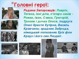 Родина Запорожців: Лаврін, Тетяна, їхні діти, п'ятеро синів - Роман, Іван, Савка