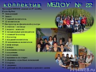 Коллектив МБДОУ состоит из 59 человек. В него входит: Заведующий Завхоз Старший