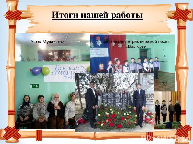 Итоги нашей работы фестиваль патриотической песни «Виктория Урок Мужества