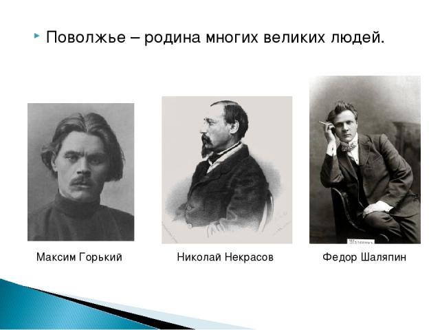 Поволжье – родина многих великих людей. Максим Горький Николай Некрасов Федор Шаляпин