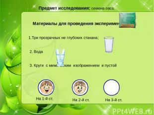 Предмет исследования: семена овса. Материалы для проведения эксперимента: 1.Три