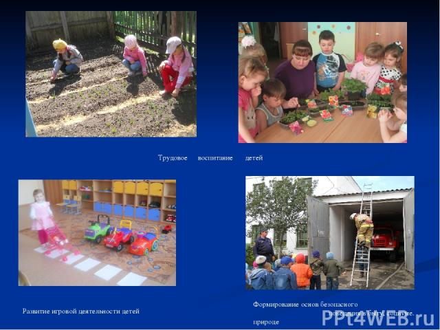 Трудовое воспитание детей Формирование основ безопасного поведения в быту, социуме. природе Развитие игровой деятельности детей