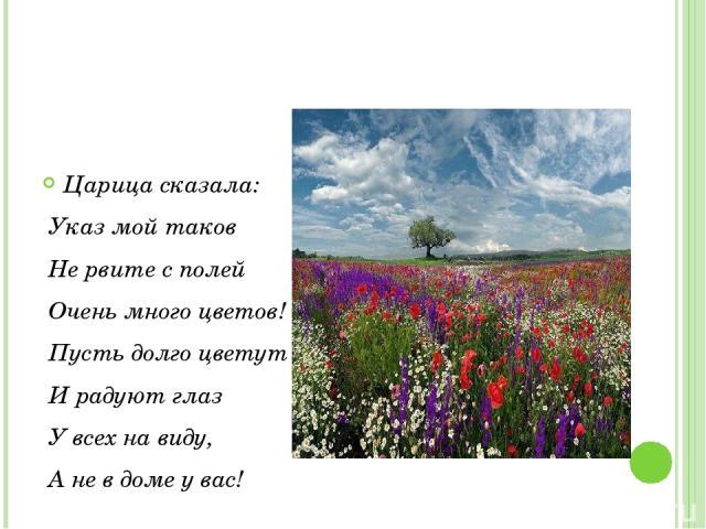 Царица сказала: Указ мой таков Не рвите с полей Очень много цветов! Пусть долго цветут И радуют глаз У всех на виду, А не в доме у вас!