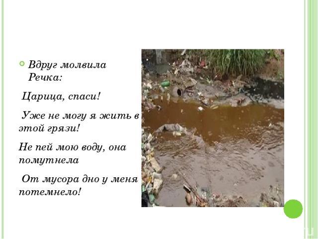 Вдруг молвила Речка: Царица, спаси! Уже не могу я жить в этой грязи! Не пей мою воду, она помутнела От мусора дно у меня потемнело!
