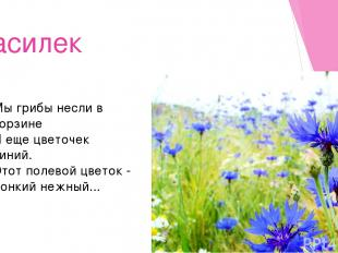 Василек Мы грибы несли в корзине И еще цветочек синий. Этот полевой цветок - Тон