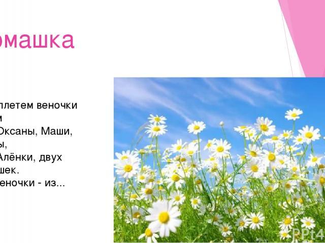 Ромашка Мы сплетем веночки летом Для Оксаны, Маши, Светы, Для Алёнки, двух Наташек. Все веночки - из...