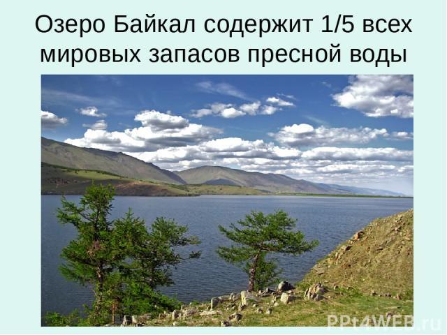 Озеро Байкал содержит 1/5 всех мировых запасов пресной воды