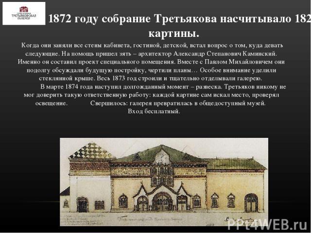 К 1872 году собрание Третьякова насчитывало 182 картины. Когда они заняли все стены кабинета, гостиной, детской, встал вопрос о том, куда девать следующие. На помощь пришел зять – архитектор Александр Степанович Каминский. Именно он составил проект …