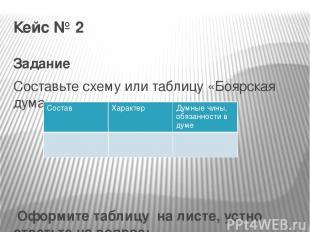 Кейс № 2 Задание Составьте схему или таблицу «Боярская дума»  Оформите таблицу