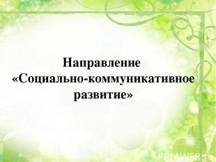 Направление «Социально-коммуникативное развитие»