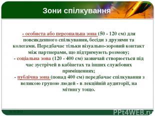Зони спілкування - особиста або персональна зона (50 - 120 см) для повсякденного