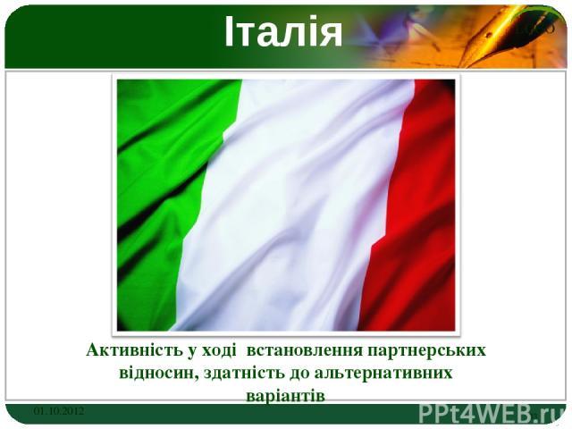 Італія Активність у ході встановлення партнерських відносин, здатність до альтернативних варіантів 01.10.2012 * LOGO
