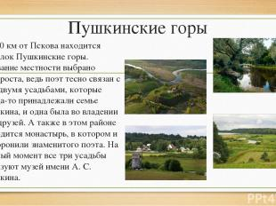 Пушкинские горы В 120 км от Пскова находится посёлок Пушкинские горы. Название м