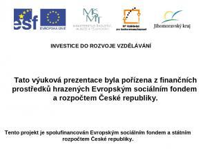 INVESTICE DO ROZVOJE VZDĚLÁVÁNÍ Tento projekt je spolufinancován Evropským sociá