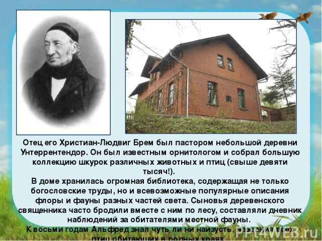 Отец его Христиан-Людвиг Брем был пастором небольшой деревни Унтеррентендор. Он был известным орнитологом и собрал большую коллекцию шкурок различных животных и птиц (свыше девяти тысяч!). В доме хранилась огромная библиотека, содержащая не только б…