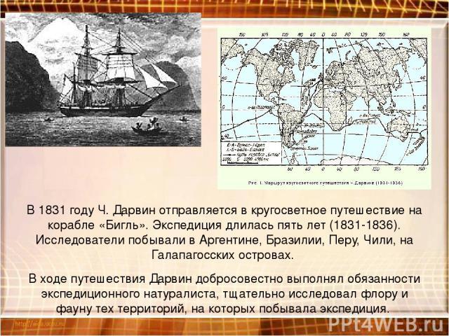 В 1831 году Ч. Дарвин отправляется в кругосветное путешествие на корабле «Бигль». Экспедиция длилась пять лет (1831-1836). Исследователи побывали в Аргентине, Бразилии, Перу, Чили, на Галапагосских островах. В ходе путешествия Дарвин добросовестно в…