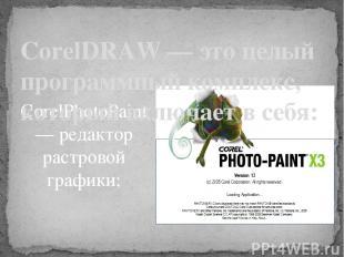 CorelPhotoPaint — редактор растровой графики;  CorelDRAW — это целый программны