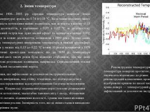 2. Зміни температури Протягом 1906—2005 рр. середня температура поверхні Землі (