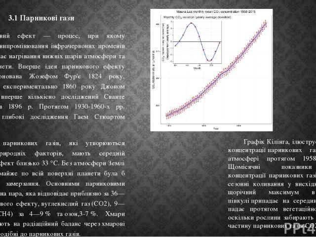 3.1 Парникові гази Парниковий ефект — процес, при якому поглинання і випромінювання інфрачервоних променів газами викликає нагрівання нижніх шарів атмосфери та поверхні планети. Вперше ідея парникового ефекту була запропонована Жозефом Фур'є 1824 ро…