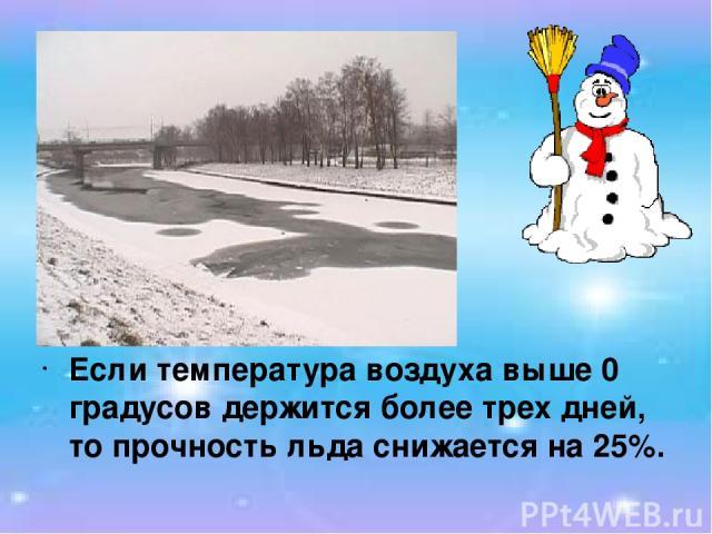 Если температура воздуха выше 0 градусов держится более трех дней, то прочность льда снижается на 25%.