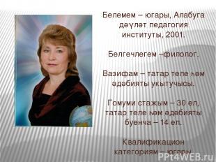 Белемем – югары, Алабуга дәүләт педагогия институты, 2001. Белгечлегем –филолог.