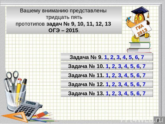 Модуль «Геометрия» содержит 8 заданий: в части 1 - 5 заданий, в час- ти 2 - 3 задания. Вашему вниманию представлены тридцать пять прототипов задач № 9, 10, 11, 12, 13 ОГЭ – 2015. Задача № 9. 1, 2, 3, 4, 5, 6, 7 Задача № 10. 1, 2, 3, 4, 5, 6, 7 Задач…