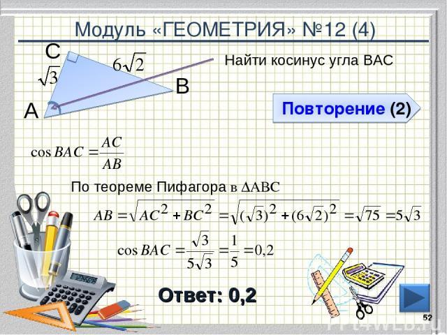 Модуль «ГЕОМЕТРИЯ» №12 (4) Повторение (2) Ответ: 0,2 Найти косинус угла ВАС * В С А По теореме Пифагора в ∆АВС