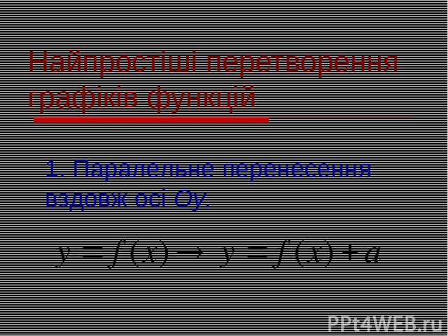 Найпростіші перетворення графіків функцій 1. Паралельне перенесення вздовж осі Оу.