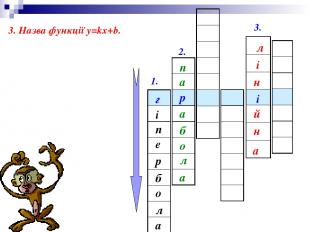1. 2. 3. р г і е п а л о б р 3. Назва функції у=kx+b. п а б а л о а л і н і й н