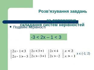 Розв'язування завдань за допомогою складання систем нерівностей Подвійні нерівно
