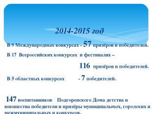2014-2015 год В 9 Международных конкурсах - 57 призёров и победителей. В 17 Всер